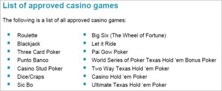 Approved casino games listing from the UK Gambling Commission